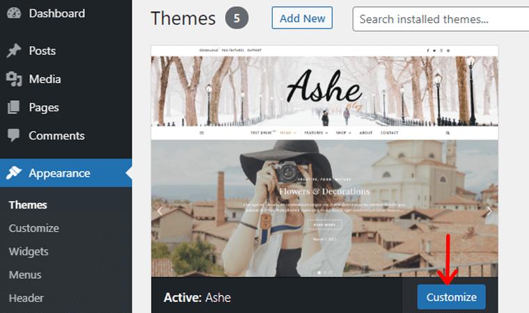 ashe-theme-customize