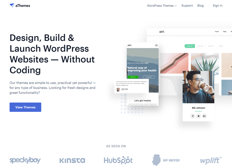 athemes- examples of websites built with WordPress