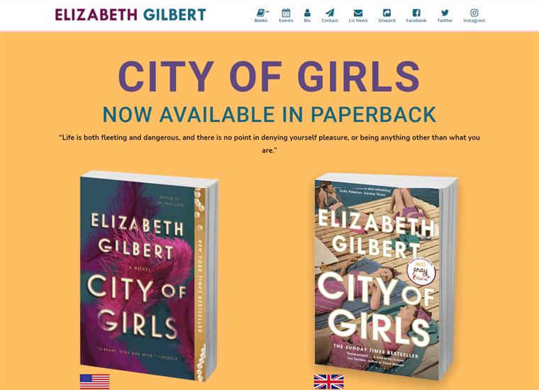 Elizabeth Gilbert-WordPress site examples