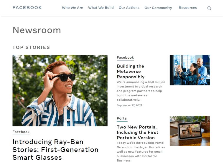 Facebook Newsroom-best WordPress sites
