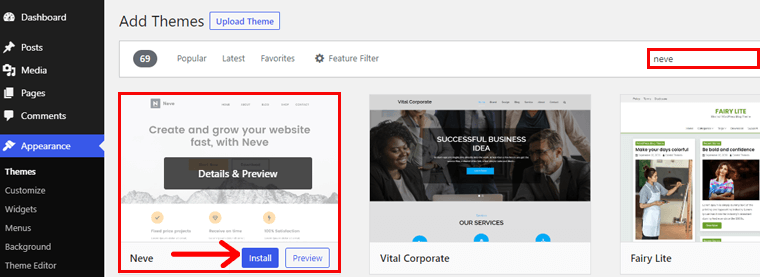 Installing Neve theme in WordPress Dashboard