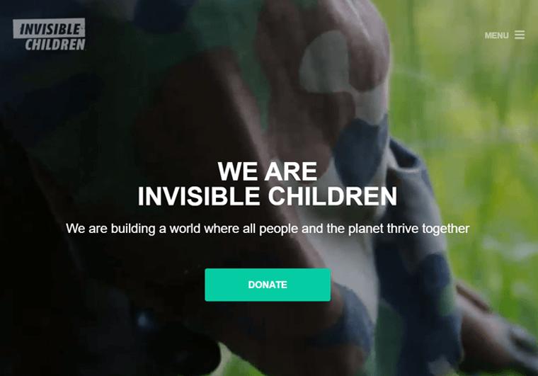 Invisible Children- WordPress website examples