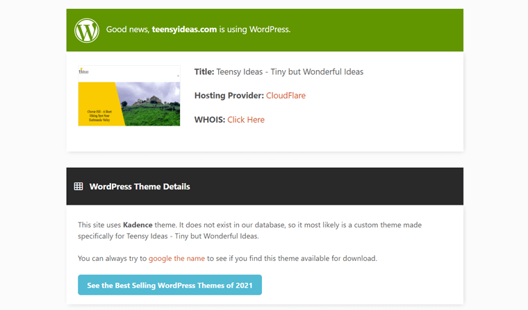 Analysis Results on IsItWP to Know If a Site Built on WordPress