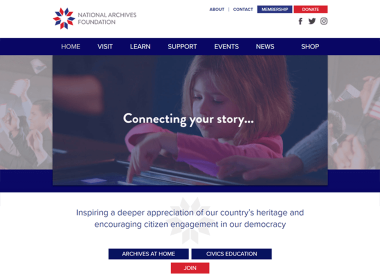 National Archives Foundation- examples of websites built with WordPress