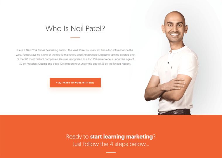 Neil Patel-WordPress personal website examples