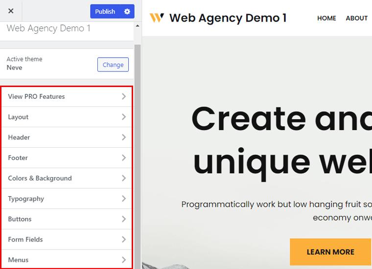 Neve WordPress Theme Customization options
