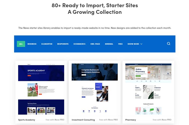 Neve WordPress theme Starter Library