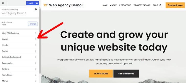 Neve WordPress Customizer