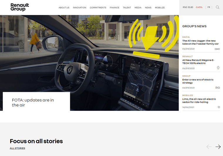 Renault Group-examples of WordPress business sites