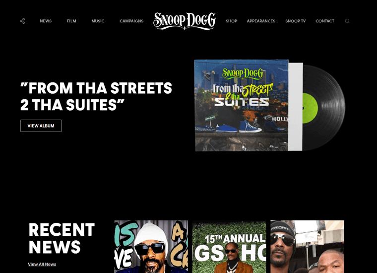 Snoop Dogg-WordPress personal site examples