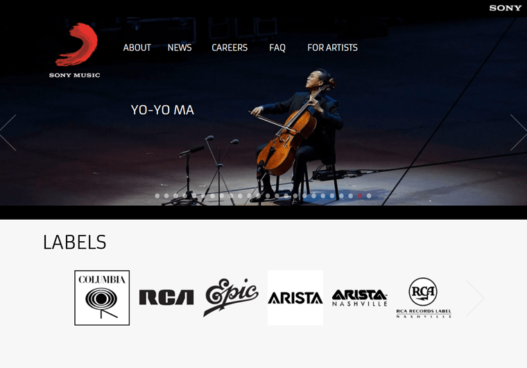 Sony Music-WordPress personal site examples