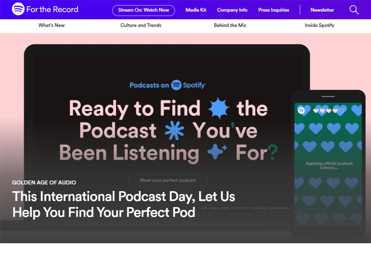 Spotify News-examples of websites built with WordPress