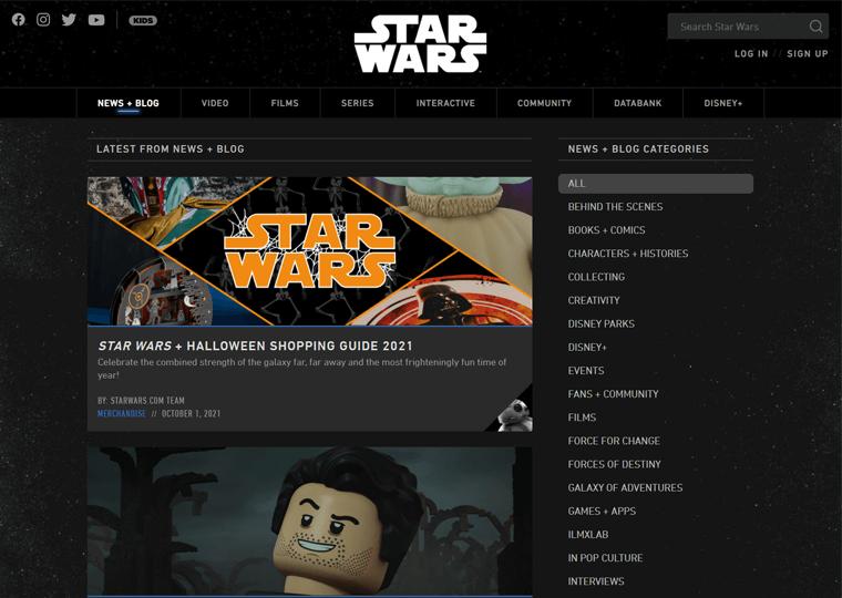 Starwars News-WordPress site examples