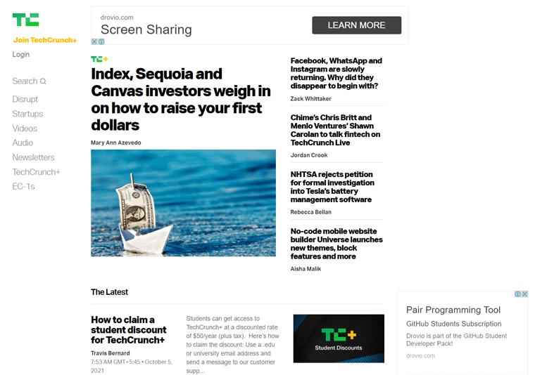 TechCrunch-magazine websites using WordPress