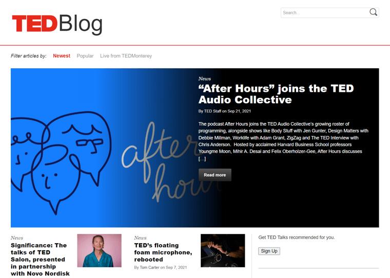 Ted Blog-WordPress blog examples