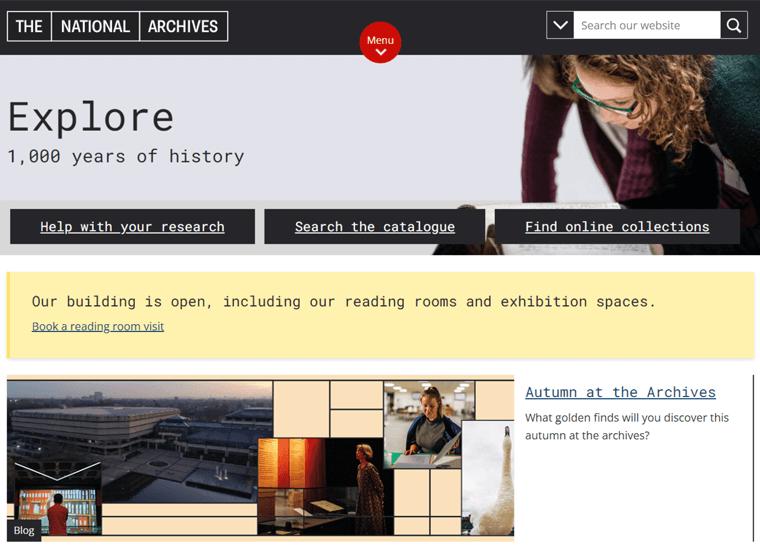 The National Archives-best WordPress websites