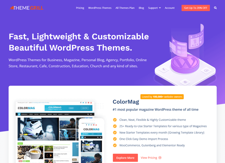 Themegrill- WordPress site examples
