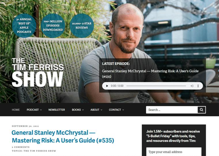Tim Ferris-WordPress personal blog examples