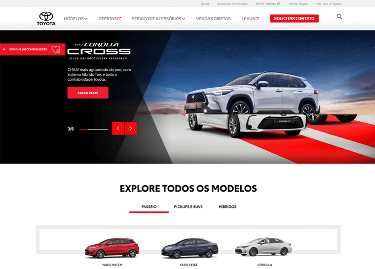 Toyota- examples of WordPress business sites