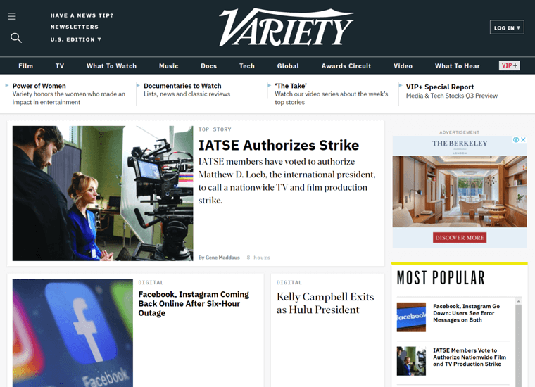 Variety-examples of websites built with WordPress