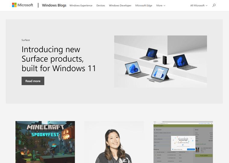 Windows Blog- WordPress website examples