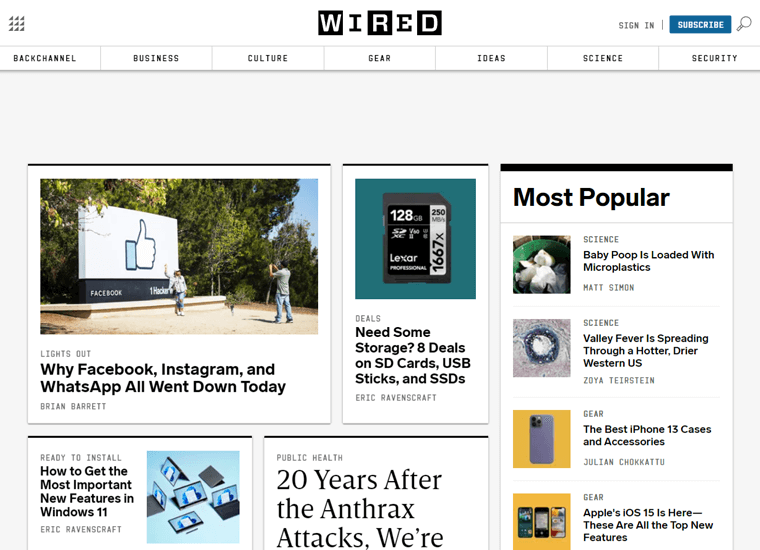 Wired-magazine websites using WordPress